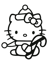 Small Picture Hello Kitty Holding Candy Cane Coloring Page H M Coloring Pages