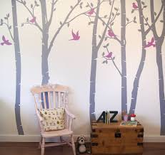 light grey trees and leaves with lilac birds