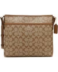 Coach Signature File Bag Crossbody Handbag Khaki Saddle F58297