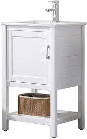 Amazon Com 20 Inches All Wood Single Bathroom Vanity With Ceramic Sink 017 20 01 C 20 Inch Matte White Kitchen Dining