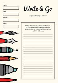 english worksheet templates canva cream pen illustration essay writing prompt worksheet