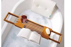 teak bathtub tray caddy luxury book reading stand wine holder side with teak bathtub caddy