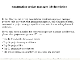 Project Manager Duties Construction Project Manager