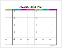 monthly meal planner template free monthly meal planner printable calendar template for menu planning