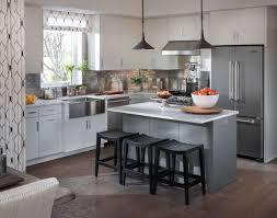 Plain White Kitchen Cabinets Furniture Minimalist Kitchen Island With Breakfast Bar Table