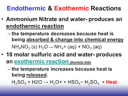 38 endothermic exothermic reactions ammonium nitrate and water produces an endothermic reaction
