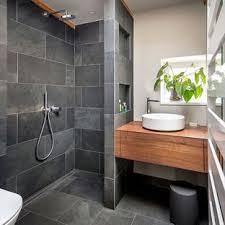 Houzz Bathroom  Small Contemporary 34 Gray Tile And Slate Floor