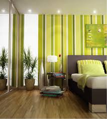 Bedroom:Alluring Stripes Green Bedroom Wall Paint Plus Black Platform Bed  Also Potted Plants And
