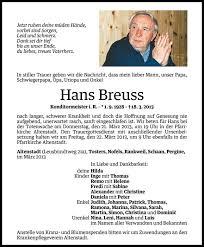 Hans Breuss Todesanzeige Vn Todesanzeigen