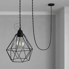 pendant lamp with diamond cage black with tm04 black rayon cable