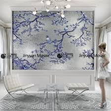 sweet ideas tile wall art home design glass mosaic murals jinyuan 24k fake gold foil leaf hanging diy artistic blue ceramic