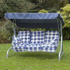 garden swing seat cushions uk. roma 3 seater swing seat - silver frame with classic cushions garden uk i
