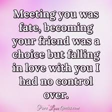 Falling In Love Quotes Interesting Meeting You Was Fate Becoming Your Friend Was A Choice But Falling