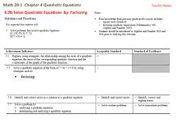 math 20 1 chapter 4 quadratic equations 4 2b solve quadratic equations by factoring teacher notes 4 2b solving quadratic equations by factoring to solve