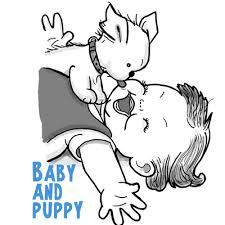 Small Picture How to Draw a Cute Baby and Puppy Licking His Face Drawing
