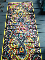 painted wood porch faux rug