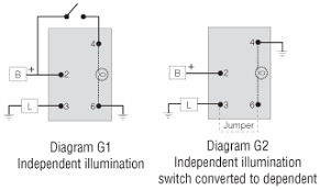 switch wiring diagrams littelfuse to convert an independent switch into dependent connect a jumper wire from terminal 3 to terminal 6 and connect terminal 4 to ground