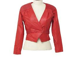 vintage chia eighties leather jacket 80s chia womens bright red smooth leather and mottle black and red embossed smooth leather jacket with lower snap
