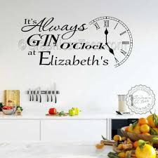 it s always gin o clock wall sticker e personalised funny home wall decor decal