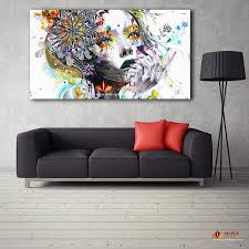 2018 large canvas painting modern wall art girl with flowers oil painting printed on canvas pictures for home decor living room from canvasart