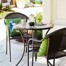 Outdoor metal chair Designer Patio Bistro Set With Table Two Chairs And Green Pillows Restaurant Furniture Less Patio Furniture