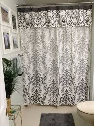 damask white fabric shower curtains for luxury bathroom plan with gray mat and nice white floor