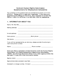 Fillable Online Hrc Vermont Employment Complaint Form - Vermont ...