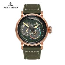 reef tiger rt men s pilot green dial watches with date leather strap rose gold watch automatic watches military watch rga3019