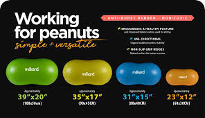 Milliard Peanut Ball Variety Pack Approximate Sizes Green 39x20 Inch 100x50cm And Blue 31x15 Inch 80x40cm Physio Roll