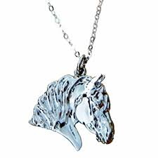 draft horse pendant gold plate
