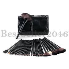 dels about pro 32pcs synthetic kabuki makeup cosmetics brush set kit with black pouch case
