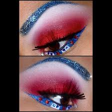 beautiful red white and blue eye make up with crystal stars and accents