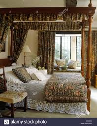 Morris Bedroom Furniture William Morris Drapes On Four Poster Bed With Lace Bed Cover And