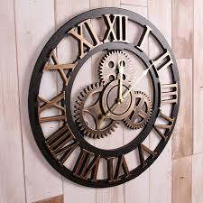 handmade oversized 3d retro rustic decorative luxury art big gear wooden vintage large wall clock on the wall for gift mty3 extra large decorative wall