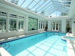 View in gallery White and blue seem like a perfect combination for the indoor  pool