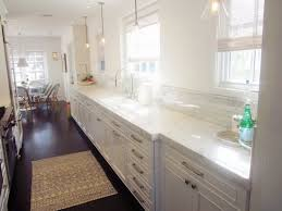 lighting for galley kitchen. Good Looking Galley Kitchen Lighting Idea With Windows Treatment And Curtain For E