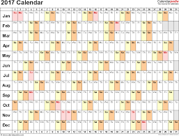 template 3 2017 calendar for excel linear days horizontally 1 page