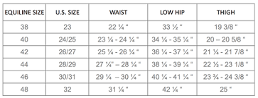 Breeches Size Chart Equiline Us Apparel Size Guide Equiline America