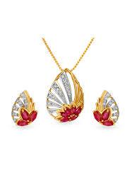 tanishq 18kt gold diamond necklace earring set