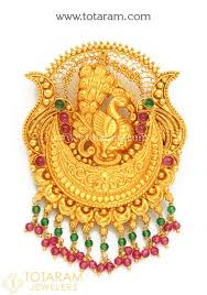 22k gold peacock pendant temple jewellery 235 gp3205