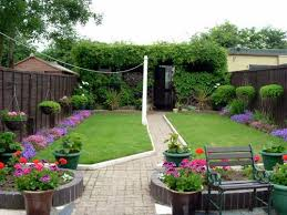 Back gardens is a type of outdoor space featuring greenery, flowers and/or  vegetables located at the rear of a residential home.