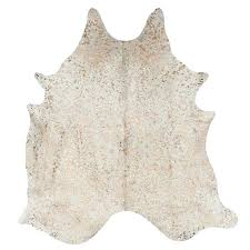 cream and gold cowhide rug speckled metallic c