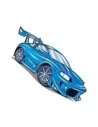 Modré Závodní Auto Nalepovací Tetování