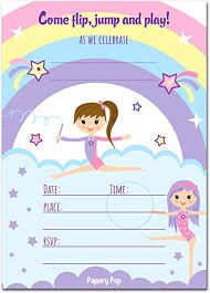 30 Gymnastics Birthday Invitations With Envelopes 30 Pack Kids Birthday Party Invitations For Girls Bounce House Trampoline