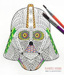 Small Picture Darth Vader Helmet Zentangle Coloring Page Fan Art Star Wars