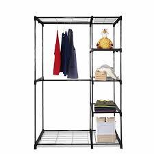 portable clothes wardrobe garment rack home closet hanger storage organizer adjule wardrobe closet wire shelving