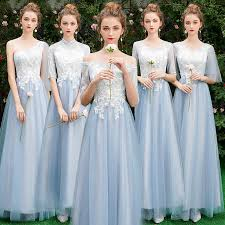 <b>Beauty Emily Long</b> Grey Pink Bridesmaid Dresses 2019 Sweep ...