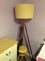 2 x tripod vintage wooden lamp stand and cream lamp shade floor lamp