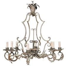 french painted iron eight light iron chandelier with acanthus leaves and scrolls