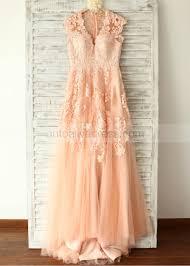 peach wedding dress. A line V Neckline Sweep Train Peach Pink Lace Tulle Wedding Dress